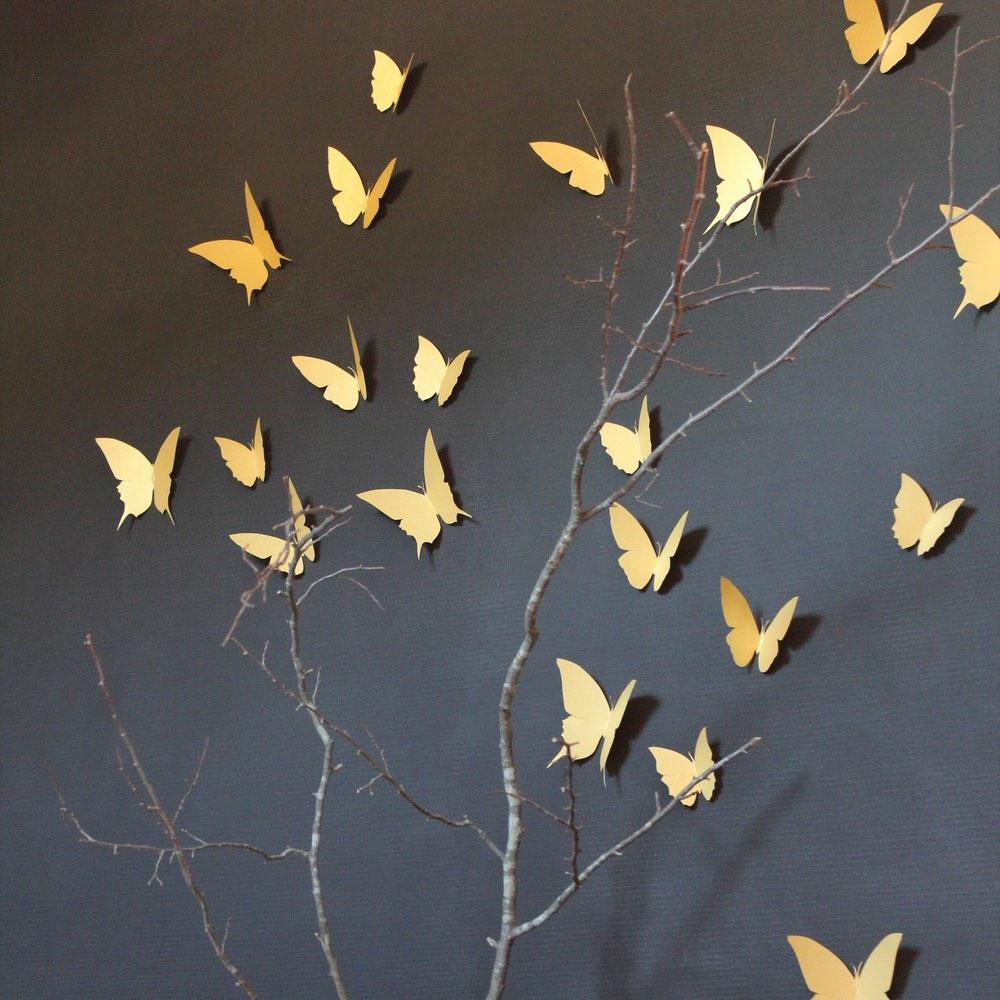 papillons dorés à coller en vente chez ©Trendy Little