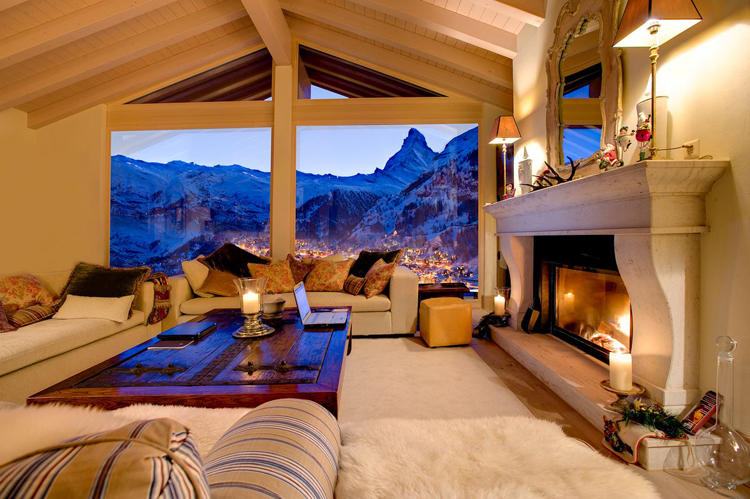 Living room of Chalet Grace, a luxury chalet located in Zermatt, Switzerland. Photo by Joe Condron