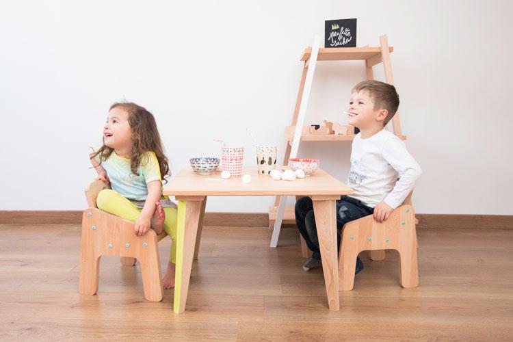 table basse et fauteuil Mini Boudoir, étagère Parenthèse | ©Paulette & Sasha