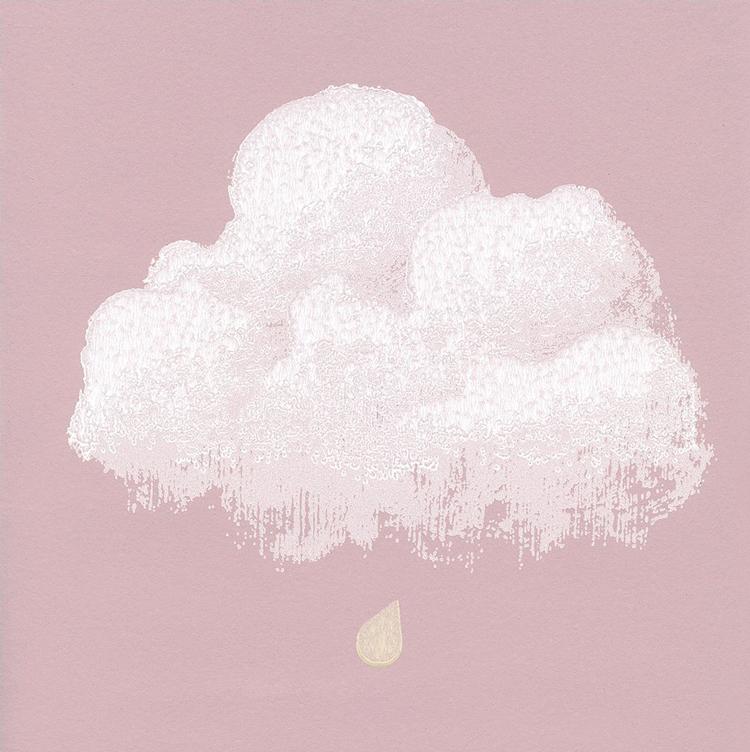 Détail papier Peint nuages de coton rose santal| ©Bartsch