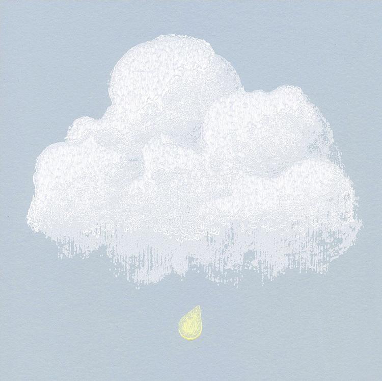 Détail papier Peint nuages de coton bleu fumée | ©Bartsch