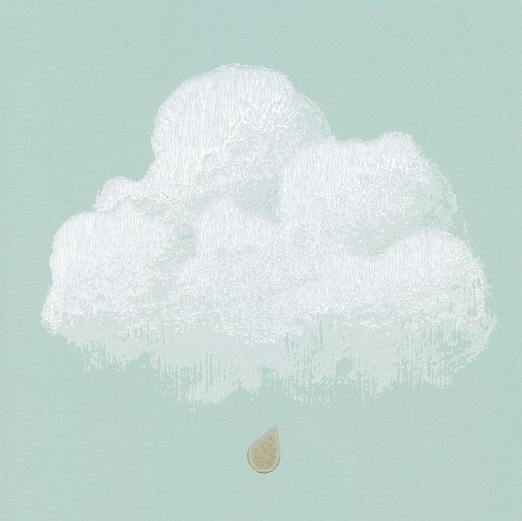 Détail papier Peint nuages de coton vert d'eau | ©Bartsch